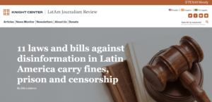 The homepage of the LatAm Journalism Review website