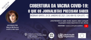 Flyer for vaccine webinar in Portuguese